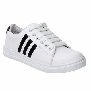 Maysun Women's White Lace-up Comfortable Canvas Casual Shoes