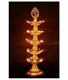 REBUY  5 Layer Electric Diya Deepak Light Lamp LED Light for Home Temple Decor