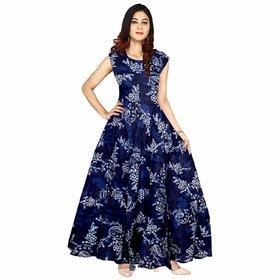 Frionkandy Sanganeri Jaipuri Print Rayon Blue A line Dress  SHKU1068