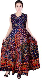 Frionkandy Sanganeri Jaipuri Print Cotton A line Multicolor Fit And Flare Dress  SHKU1006