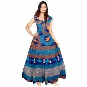 Frionkandy Sanganeri Jaipuri Print Cotton A line Blue Fit And Flare Dress  SHKU1080