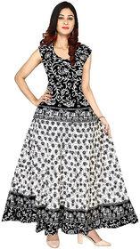 Frionkandy Sanganeri Jaipuri Print Cotton Black A- line Dress - (SHKU1118_Free Size)