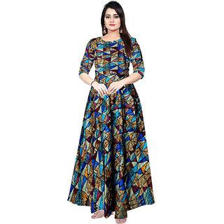 Frionkandy Sanganeri Jaipuri Print Rayon Blue A line Dress  SHKU1047