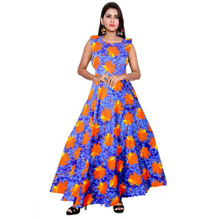 Frionkandy Sanganeri Jaipuri Print Rayon Blue A line Dress  SHKU1074Blue