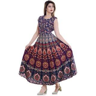 Frionkandy Sanganeri Jaipuri Print Cotton A line Multicolor Fit And Flare Dress  SHKU1011