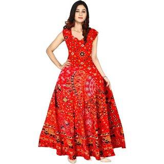 Frionkandy Sanganeri Jaipuri Print Cotton A line Red Fit And Flare Dress  SHKU1016