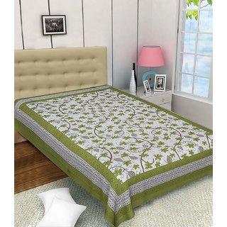 Frionkandy Jaipuri Sanganeri Print Green Cotton Single Bed Sheet - SHKB1025
