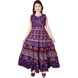 Frionkandy Sanganeri Jaipuri Print Cotton A- line Blue Fit And Flare Dress - (SHKU1007Free Size)