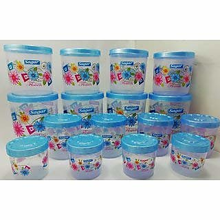 Twister Plastic Containers Set of 16 PCS (2400ml, 1600ml, 800ml, 400ml), Blue