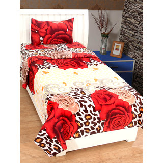 Homelogy Glace Cotton 3D Printed Single Bedsheet with 1 Pillow Cover- Red