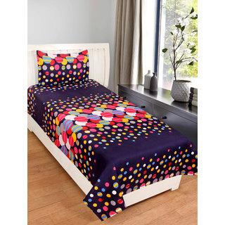 Homelogy Glace Cotton 3D Printed Single Bedsheet with 1 Pillow Cover- Black
