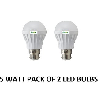 Hfk B22 5 Watt Natural White Pack of 2 Led Bulb