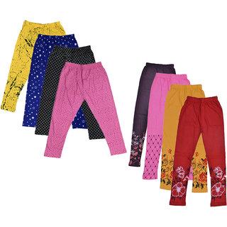 IndiWeaves Girls Cotton Printed Capri and Legging (Pack of 8)