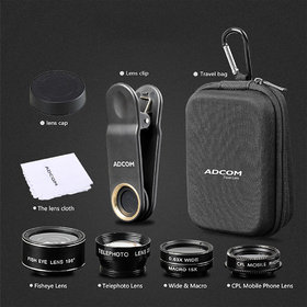 Adcom 5 in 1 Mobile Phone Camera Lens Kit Universal Clip-on Cell Phone for All iPhone and Android Smartphones (Black)
