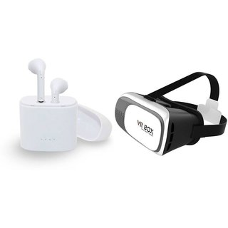 I7 Twins Blutooth Headset and VR box|TWS Earbuds Headsets Double Twins Stereo Music Earphone Bluetooth Headset with Mic|