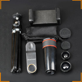Adcom Professional 5 in 1 Mobile Phone Camera Photo Lens Kit with Tripod- 180 Compatible All iPhone  Android Mobile