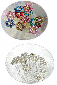 GaDinStylo Set of 24 U-Shaped Rhinestone and Pearl Flower Silver Hair Pins for Bridal Hair Juda, Any Hair Styling and Make Attractive Bun