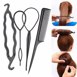 women hair accessories 4pcs bun maker tool kit (black)