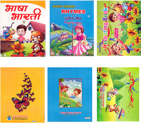 SIMPLE  EASY LEARNING SET of 3 BOOKS for KIDS 2 - 4 YEARS of age  (ENGLISH, Hindi, Colouring) 2