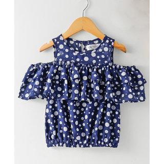 Soul Fairy Girls Cold off- Shoulder Ruffle Polka Print Top (Navy Blue)