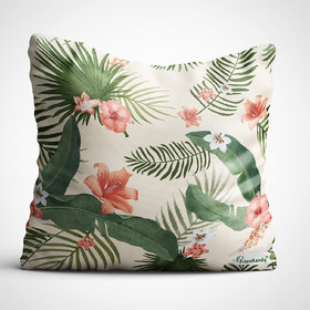 Frionkandy Floral Themed 12X12 Inches / 30X30 Cms Cushion Cover with Filler - Green (SHKE1004)