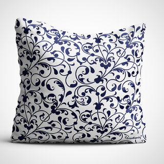 Frionkandy Ethnic Themed 12X12 Inches / 30X30 Cms Cushion Cover with Filler - Blue (SHKE1008)