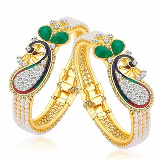 MFJ Fashion Jewellery Peacock Pearl Gold Plated Brass Set of 2 Openable Kada For Women