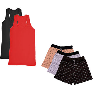 IndiWeaves Womens Cotton Tank Top and Printed Shorts (Pack of 5)