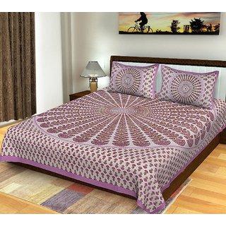 Frionkandy Jaipuri Sanganeri Print 100% Cotton 120 TC Purple King Size Bed Sheet + 2 Pillow Covers - SHKA1009