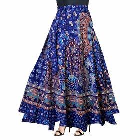 Frionkandy Cotton Blue A-Line Wrap Around Skirt - Free Size  (Length-38, Waist upto-46)