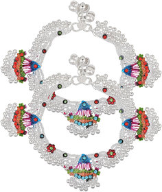 Memoir Silver Plated, Broad Colourful Tradiitonal Anklet Fashion Payal Pajeb Women