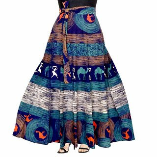 Frionkandy Cotton Blue A-Line Wrap Around Skirt - Free Size  (Length-38