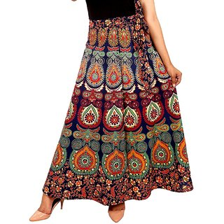 Frionkandy Cotton Multi Color A-Line Wrap Around Skirt - Free Size  (Length-38