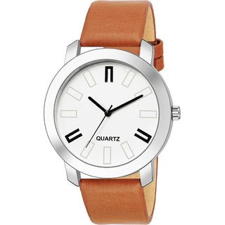 BFF by Vivah Mart White Round Dial Tan Leather Strap Analog Watch For Men