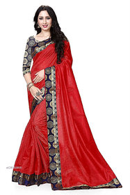 eDESIRE Red Colour Art Silk Saree with Blouse Piece