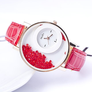 Japan Round Dial Red Leather Analog Round Watch For Women