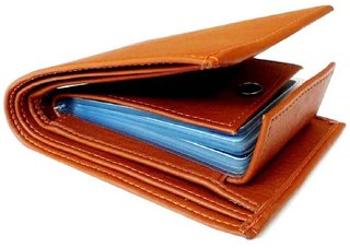 Tan PU Single fold Wallet for Mens