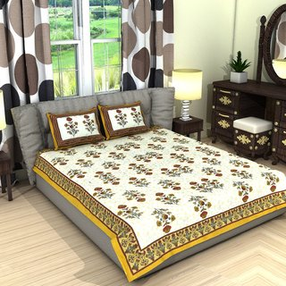 Frionkandy Jaipuri Sanganeri Print 100 Cotton 120 TC Yellow Double Bed Sheet + 2 Pillow Covers - SHKA1045