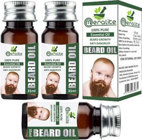 Meralite Natural Beard Oil Pack of 3 Hair Oil  (105 ml) (ML-BABY BEARD OIL-35ml-PACK OF 3)