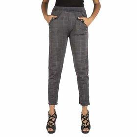 Pixie Women's / Girls / Ladies Spandex Check Pattern Pant / Trouser / Jeggings (Grey) - Free Size