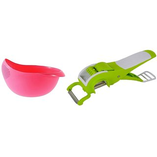 Deal combo of Rice washing bowl with mirchi vegetable cutter (Multicolor)
