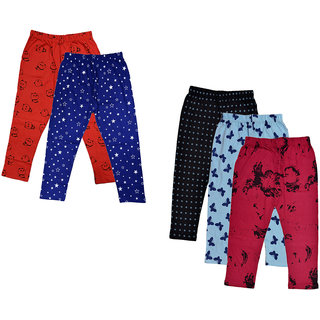 IndiWeaves Girls Combo Pack Of Cotton Printed Capris (Pack of 5)