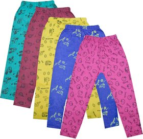 Jisha Slim Fit Cotton Printed Legging For Girls Set of 5