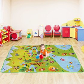 Premium furnishing reversible pvc play mats for kids cartoon print on both sides pack of one. (6x4 feet).