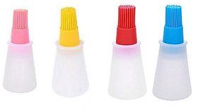 SYGA Set of 4 Silicone Cooking Oil Bottle with Basting Brush (Assorted Colour)