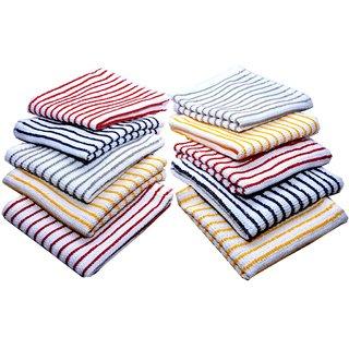 Bpitch 10pc stripe kitchen towel set multi color 12x12 inch