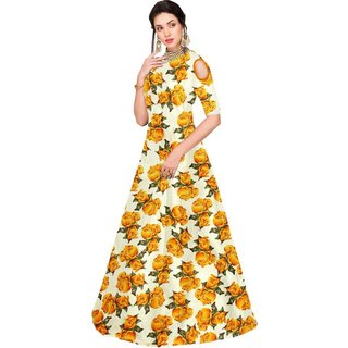 Florence Beige and Yellow Bangalore Satin Printed Semi Stitched Gown