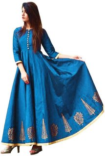 Florence Turquoise Taffeta Silk Embroidered Semi Stitched Gown
