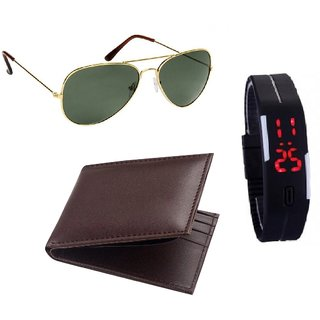 Brown Leatherite wallet For Men + Led Watch + Glasses (Synthetic leather/Rexine)