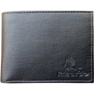 Eaglebuzz Men's Black Leather wallet E16 (Synthetic leather/Rexine)